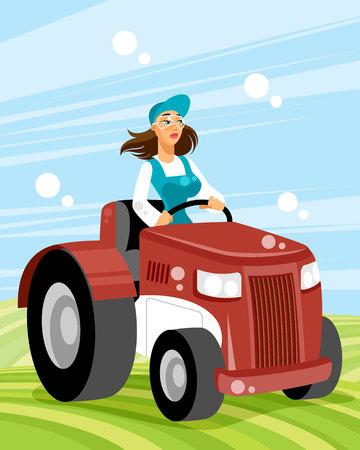 Vector illustration of a woman driver on transport Standard-Bild - 112289241