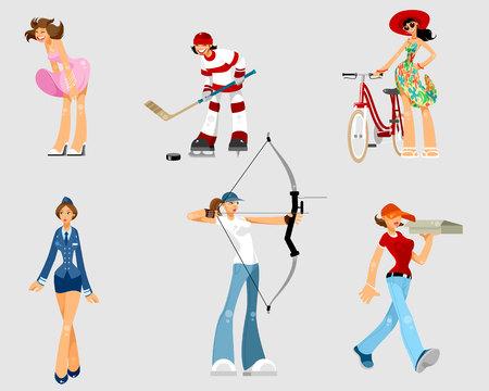 Ilustración de vector de un conjunto de mujeres diferentes Ilustración de vector