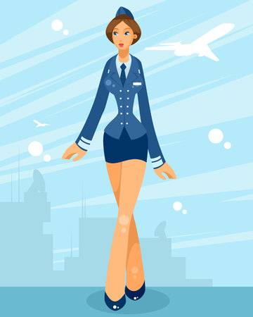 Vector illustration of stewardess in the background of airfield