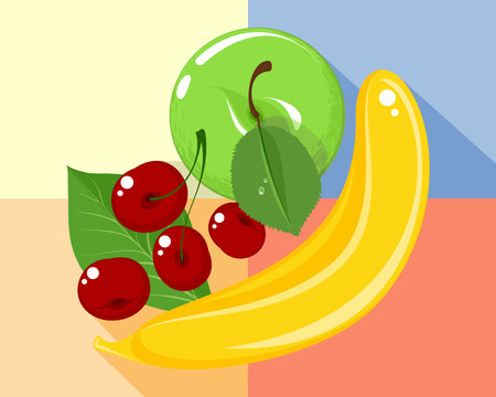 Vector illustration of fruits and berries on colored background Illustration