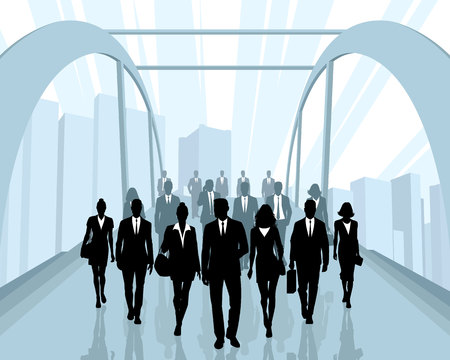 Vector illustration of silhouettes of people going to work