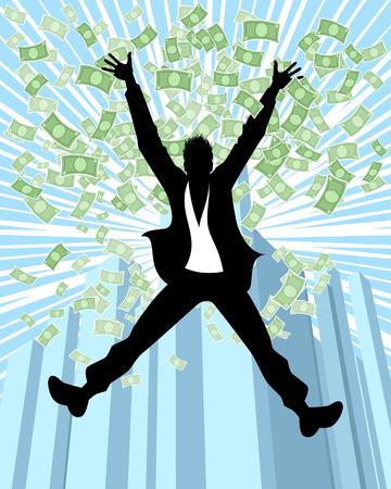 Vector illustration of man in the rain of money