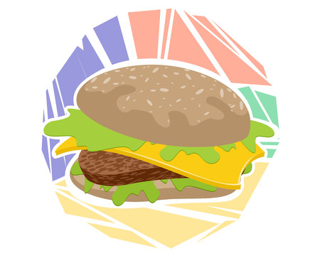Vector illustration of a hamburger on colored background Çizim