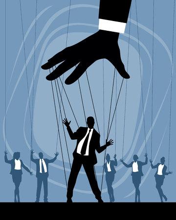 Ilustración de vector de siluetas de marionetas de negocios