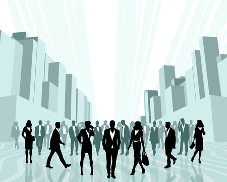 Vector illustration of business people in the city