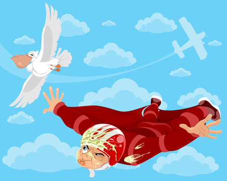 Vector illustration of wingsuit and  bird in the sky Illustration