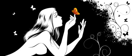 Vector illustration of a naked girl with a butterfly