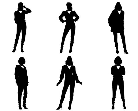 Vector illustration of six silhouettes of modern women