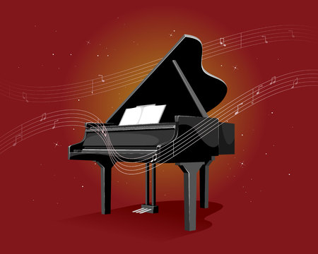 Vector illustration of a black piano on red background Illustration
