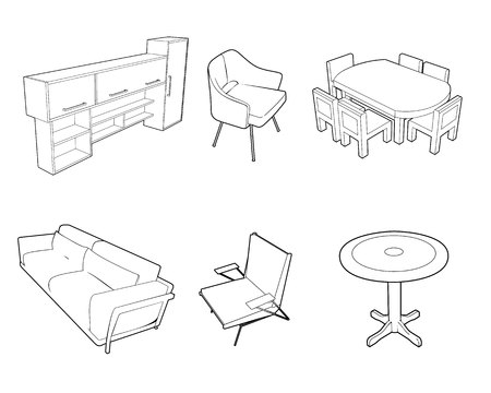 Vector illustration of a set of furniture silhouettes