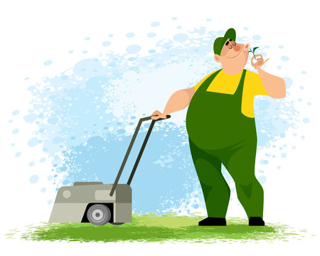 Vector illustration of a gardener with a lawn mower Ilustracja