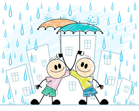 Vector illustration of two boys with umbrellas