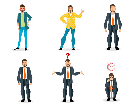 Vector illustration of set of men on white background Ilustracja