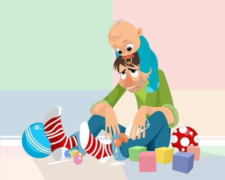 Vector illustration of a dad with a baby Ilustracja