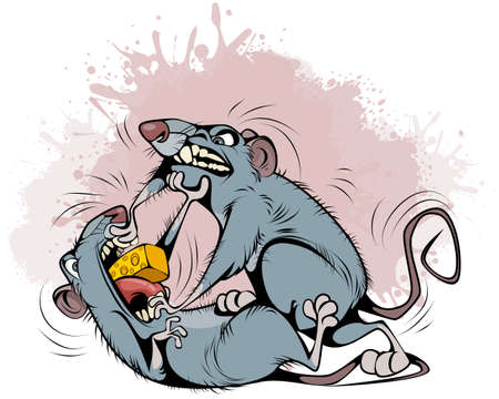 Vector illustration of rats fighting over prey