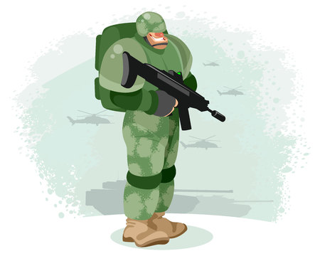 Vector illustration of a soldier with a gun