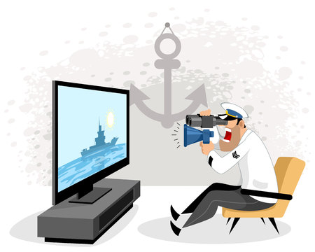 Vector illustration of a sailor watching TV
