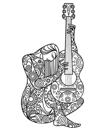 Vector illustration of a girl with a guitar