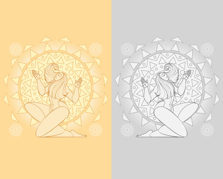 Vector illustration of two mythological dancing maidens