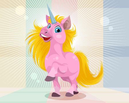 Vector illustration of a pink cartoon unicorn