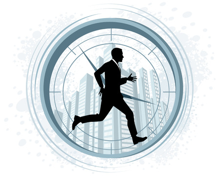 Vector illustration of a running businessman silhouette