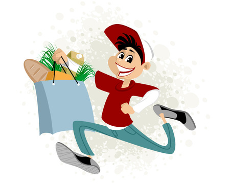 Vector illustration of a young man delivering food Ilustracja