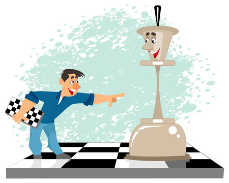 Vector illustration of a man and a chess figure