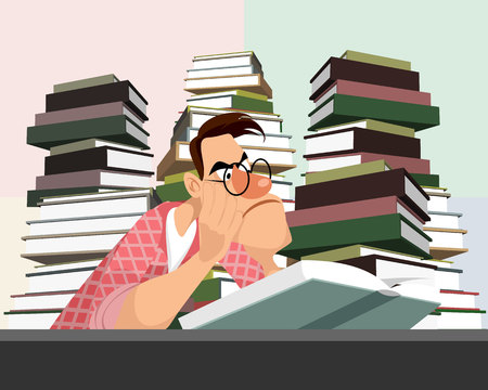 Vector illustration of a young man reading a book Ilustracja