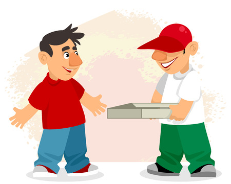 Vector illustration of pizza delivery man and customer