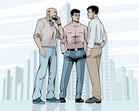 Vector illustration of meeting of the three men outdoors