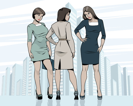 Vector illustration of three women meeting outdoors Illustration