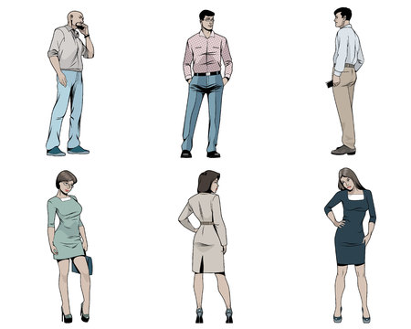 Vector illustration of men and women on white background