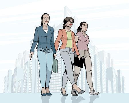 Vector illustration of women walking down the street Ilustracja