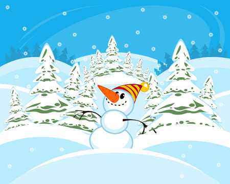 Vector illustration of a snowman in the forest