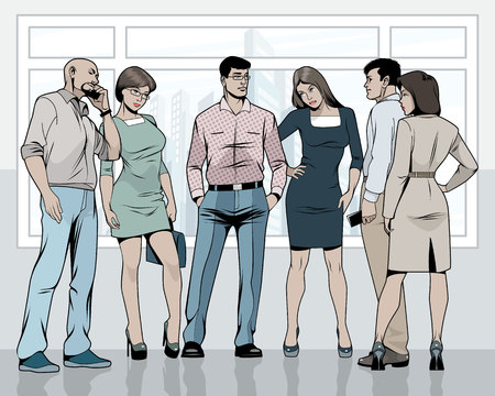 Vector illustration of business people in the office Illustration