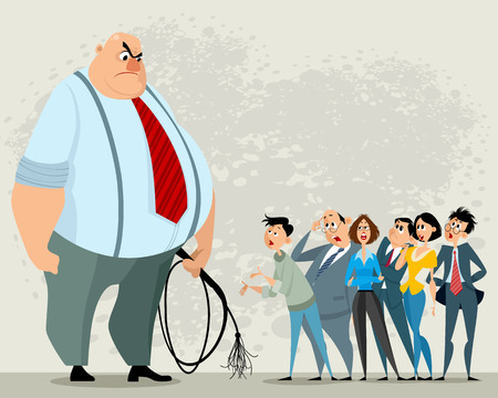 Vektor-Illustration des Chefs mit Peitsche und seinen Untergebenen