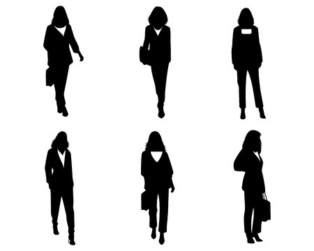 Vector illustration of women silhouettes set on white