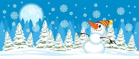Vector illustration of snowman on a Christmas trees background