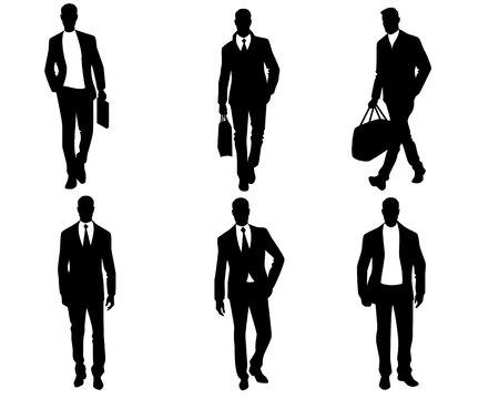 Vector illustration of men silhouettes on white background Stock Illustratie