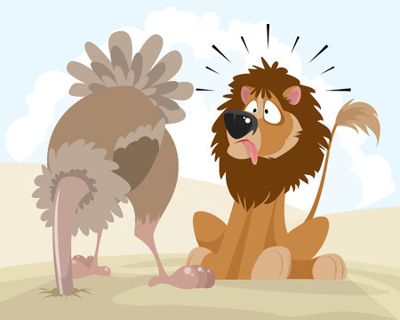 Vector illustration of a lion and an ostrich