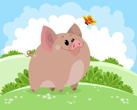 Vector illustration of piggy on fresh air Ilustracja
