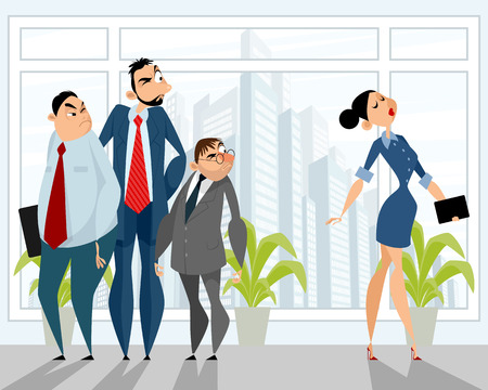 Vector illustration of one situation in the office