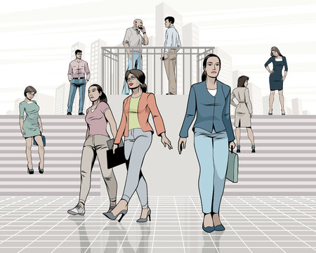 Vector illustration of people on the street Çizim