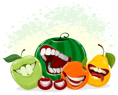 Vector illustration of playful fruits on white