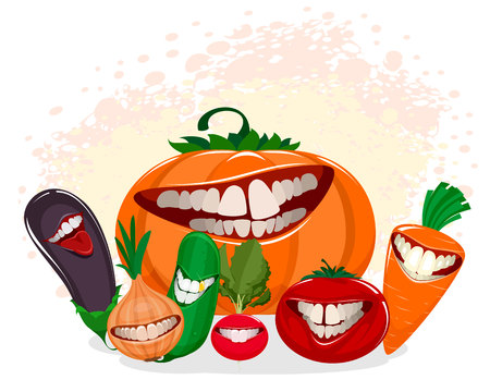 Vector illustration of funny vegetables on white Vectores