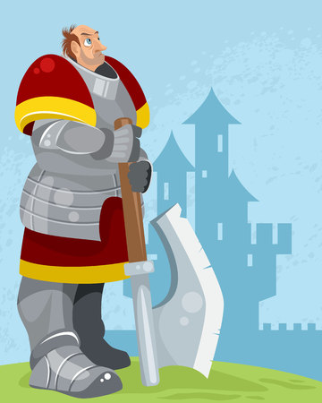 Vector illustration of a knight on a castle background