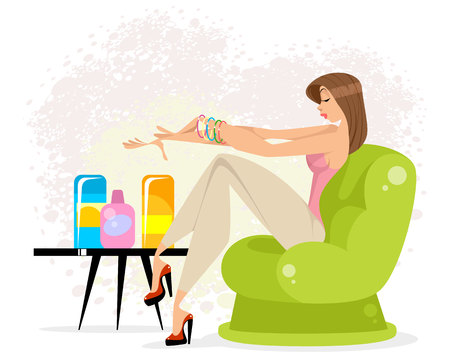 Vector illustration of a girl taking care of herself Banque d'images - 122625836