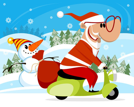 Vector illustration of Santa Claus on a scooter