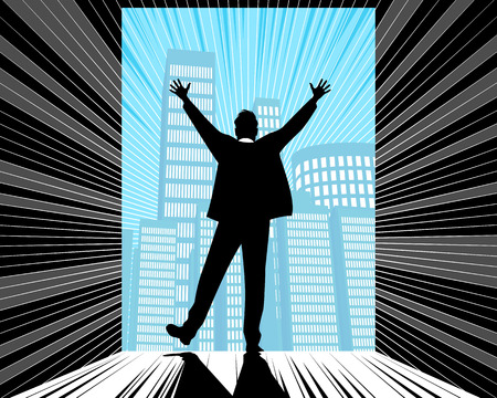 Vector illustration of a silhouette of a successful businessman Çizim