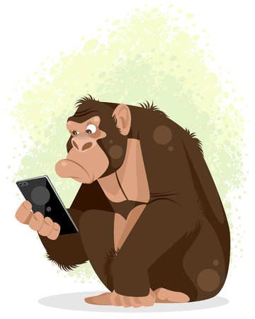 Vector illustration of a gorilla with smartphone